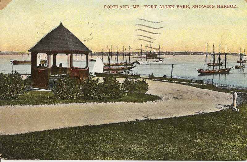 A postcard from the early 1900s depicts Fort Allen Park.