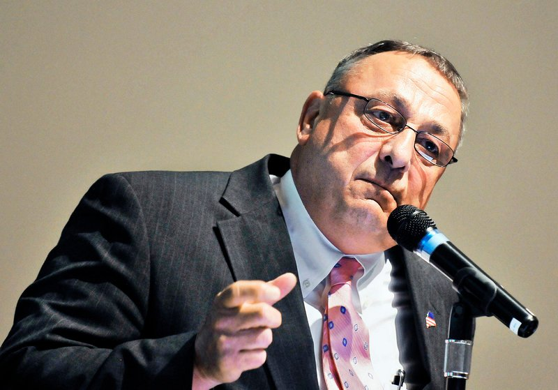 Gov. Paul LePage speaks to a group at Maine Medical Center about his challenges as a youth. The event was sponsored by Learning Works as part of the organization's Community Conversations.