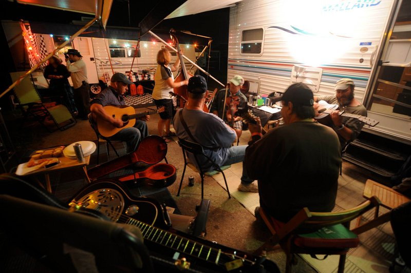 Late-night jamming is a favorite for fans at the Ossipee Valley Music Festival.