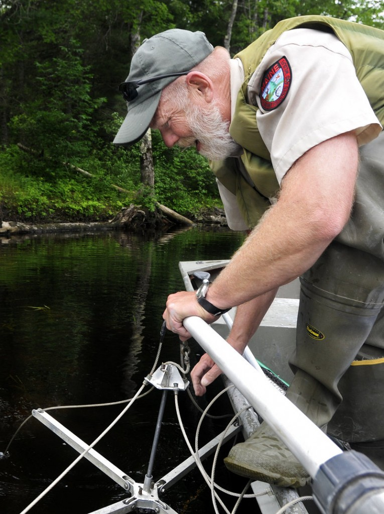 Inland Fisheries and Wildlife biologist Nels Kramer places electro-fishing equipment off the side of his boat and into Pushaw Stream.