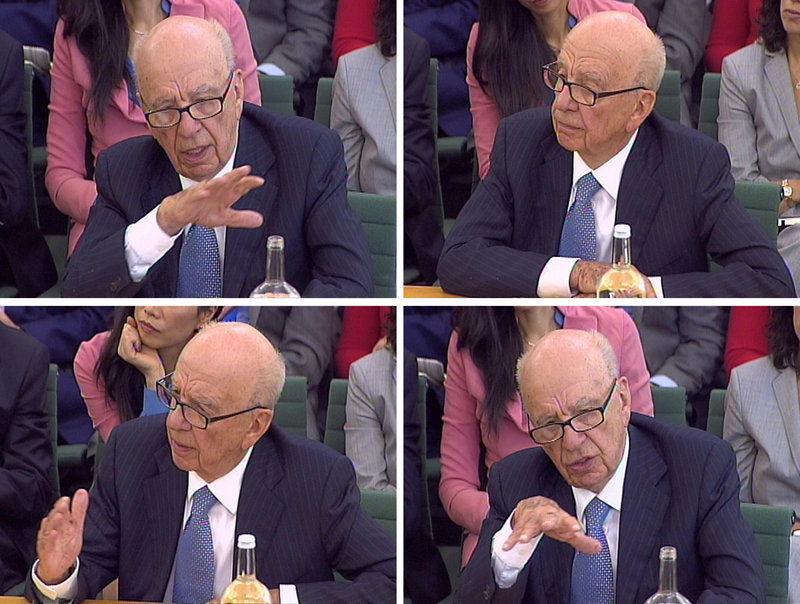 Rupert Murdoch was grilled for three hours Tuesday by lawmakers in London. He told them he was humbled and ashamed, but that he was at fault only for trusting the wrong people at the now-defunct News of the World newspaper.