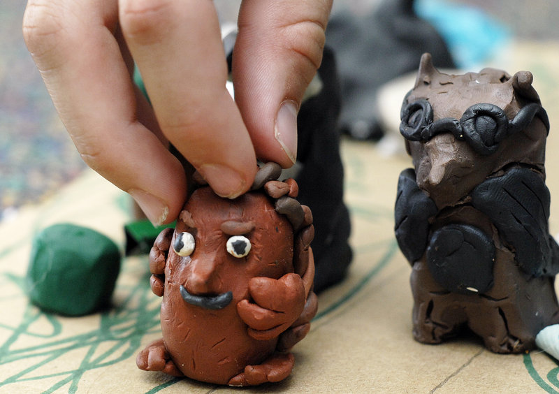 Close-up of the clay figures.