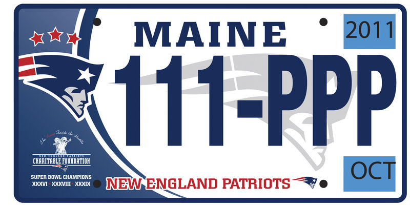 A sample Patriots plate
