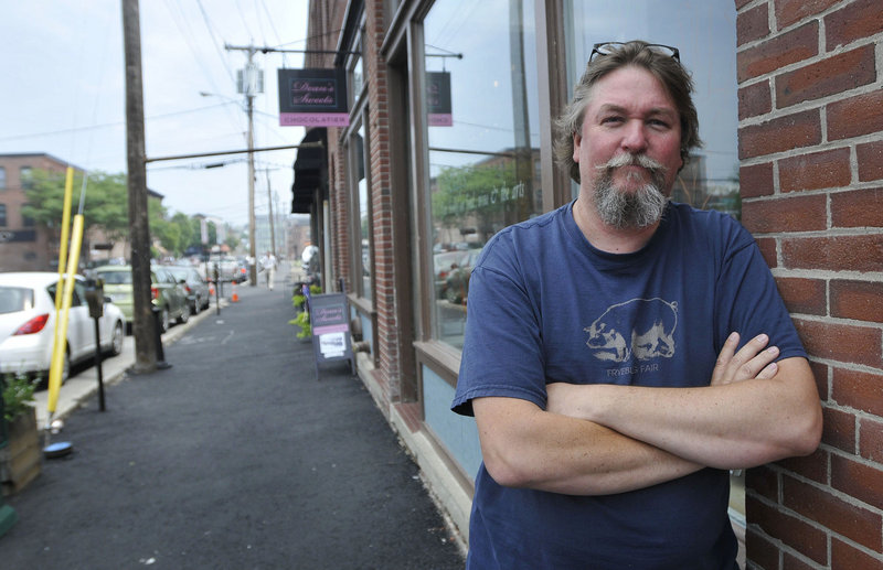 Don Lindgren, who owns Rabelais bookstore on Middle Street in Portland, estimates that work on the street and sidewalk outside his shop reduced his sales by 40 percent in May and June. He hasn't run the numbers for July yet.