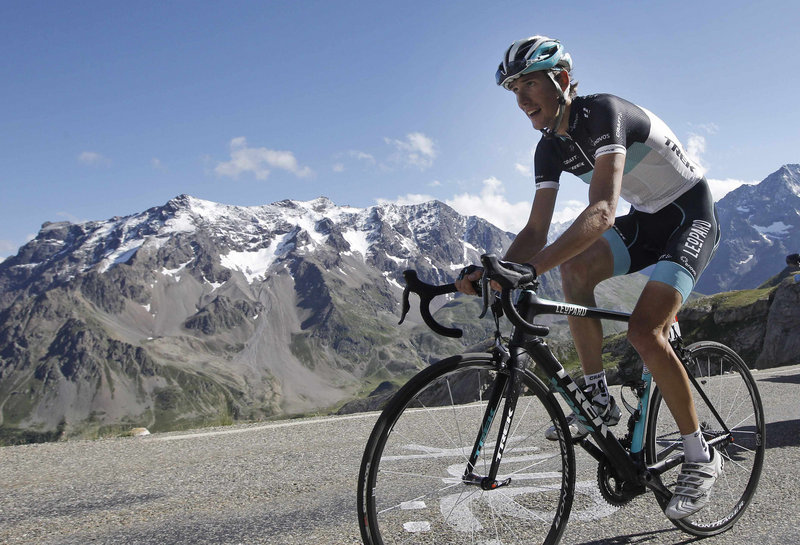 Andy Schleck climbs Galibier pass during his key stage win Thursday in the Tour de France. Schleck now trails overall leader Thomas Voeckler by just 15 seconds.