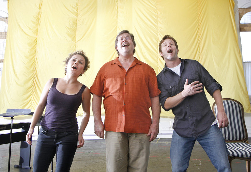 Ashley Emerson, Jan Opalach and Andrew Bidlack, all based in New York, rehearse for the PORTopera production. All three have extensive opera credits.