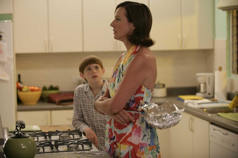 Dylan Riley Snyder as Timmy and Allison Janney as Trish in