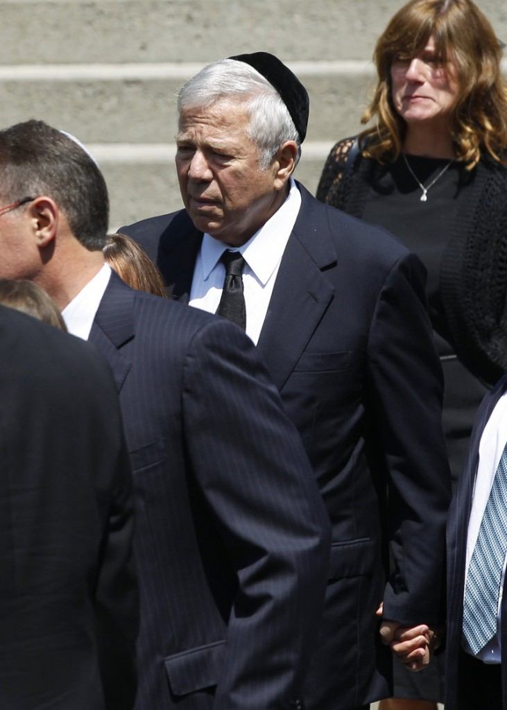 Robert Kraft, New England Patriots owner, stands among other mourners at Temple Emanuel in Newton, Mass.