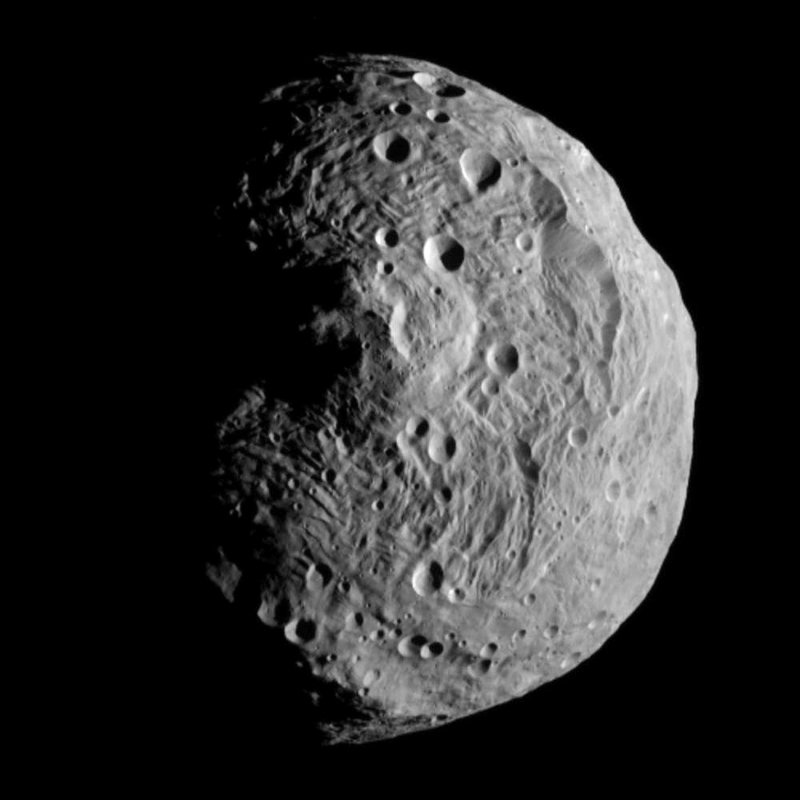 This file image released by the Jet Propulsion Laboratory shows the asteroid Vesta, photographed by the Dawn spacecraft on July 17. The image was taken from a distance of about 9,500 miles away.