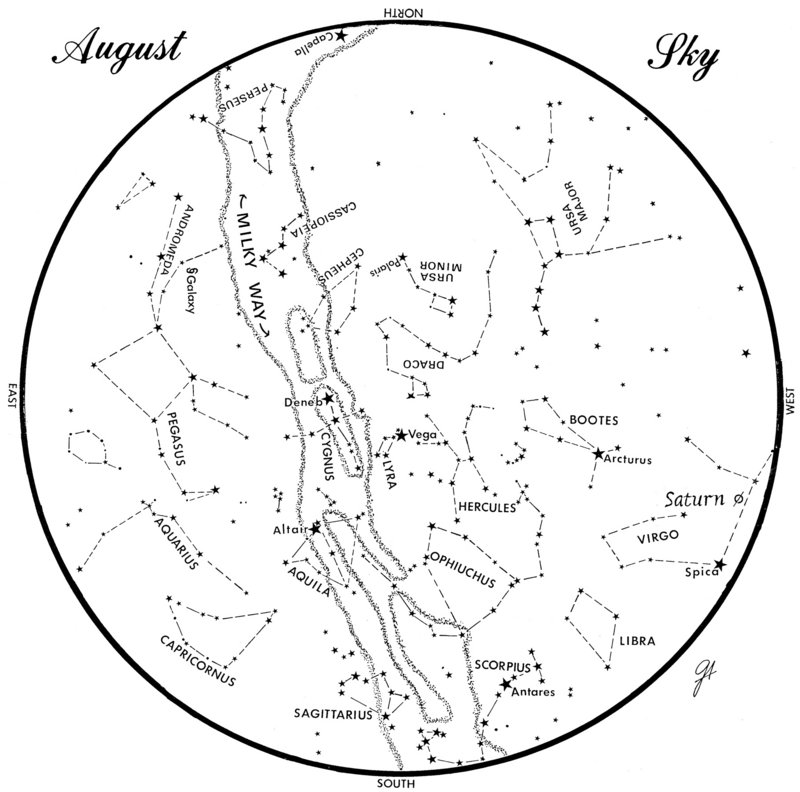 This chart represents the sky as it appears over Maine during August. The stars are shown as they appear at 10:30 p.m. early in the month, at 9:30 p.m.at midmonth and at 8:30 p.m. at month's end. Saturn is shown in its midmonth position. To use the map, hold it vertically and turn it so that the direction you are facing is at the bottom.