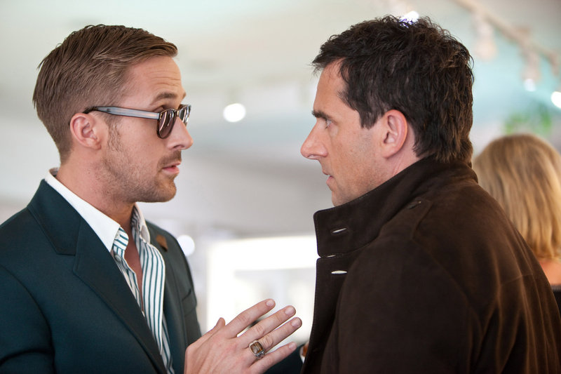 "Ryan Gosling, left, as Jacob, shows a not-often-seen funny side while Steve Carell as Cal is, well, Steve Carell in Warner's new comedy, ""Crazy, Stupid, Love."""