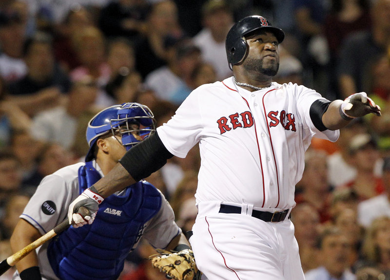 David Ortiz and Royals catcher Brayan Pena watch Ortiz's drive head into the stands for a grand slam that capped a five-run fourth inning in Boston's 12-5 win Wednesday night.