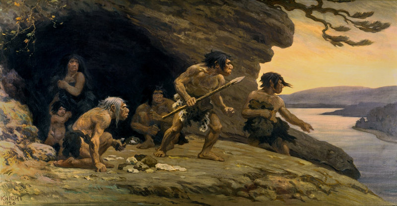 A mural from the American Museum of Natural History depicts Neanderthal life. Neanderthals may have been pushed out of shelters and hunting grounds by modern humans.