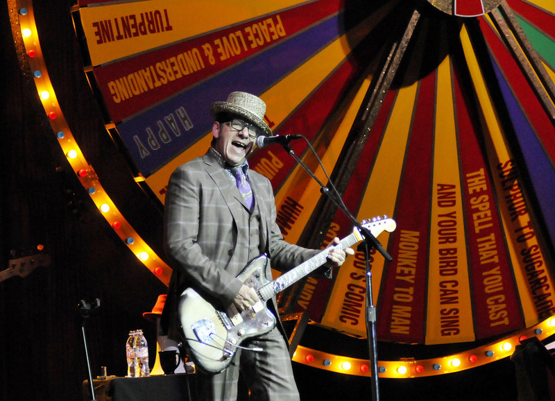 Elvis Costello performs in Portland on Thursday.