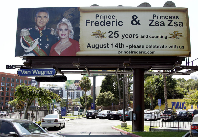 Zsa Zsa Gabor's husband of 25 years announced their wedding anniversary with a billboard on Sunset Boulevard in Los Angeles.
