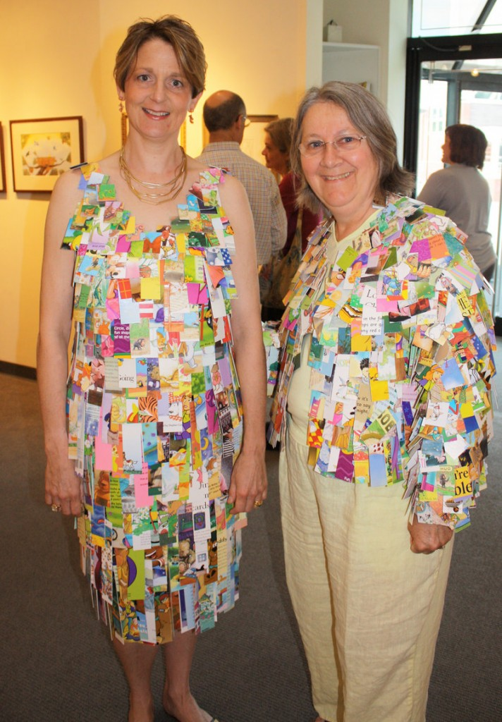 Fiber artists Priscilla Nicholson and Susan Perrine, who made the dress and jacket from children's books.