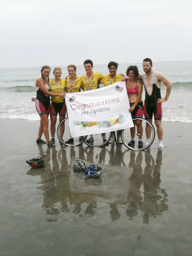 On Friday, seven St. Paul's School students completed a 44-day bike trek from Washington state to York Harbor Beach, raising money for and awareness of Ride 2 Recovery. From left are Lia Keyser, Anna Richardson, Brittany Marien, Tucker Burleigh, Luke Norena and two Mainers: Anna Hymanson of York and Aaron Weiss of Rockland.