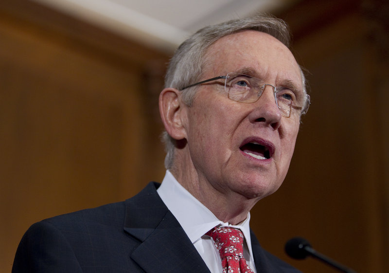 """Senate Majority Leader Harry Reid, D-Nev., above, and Speaker of the House John Boehner, R-Ohio, below, speak to reporters in Washington on Saturday. """"I think we're dealing with reasonable, responsible people who want this crisis to end as quickly as possible,"""" Boehner said."""