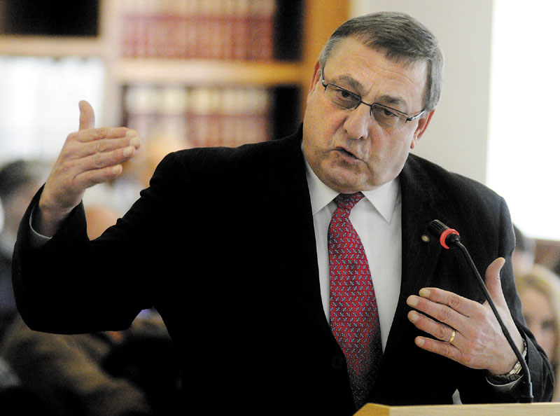 Gov. Paul LePage testifies before the Appropriations Committee during a March hearing about his administration's budget proposals.