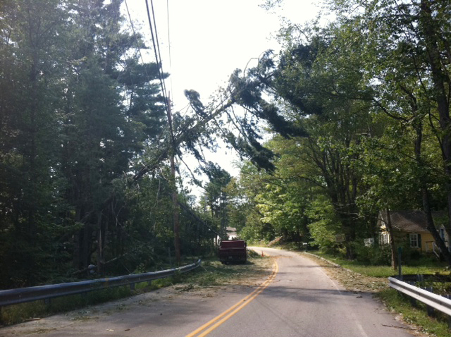 A blown-down tree hangs precariously over Route 114 in Sebago.