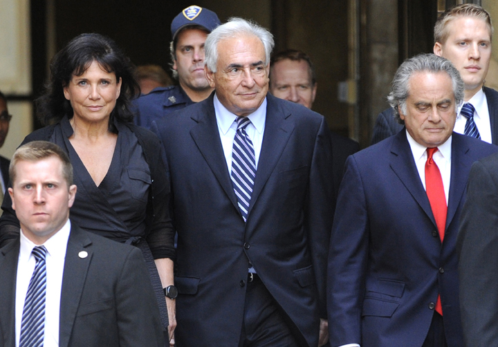 Dominique Strauss-Kahn leaves Manhattan State Supreme Court with his wife Anne Sinclair today.