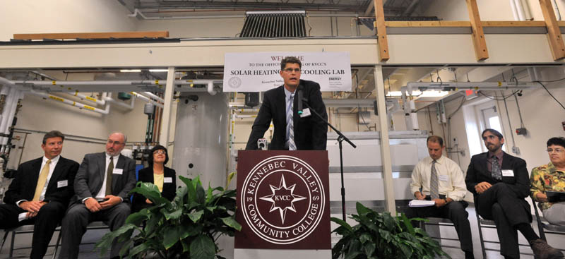 Dana Doran, director of energy programs at Kennebec Community College, speaks about the new state-of-the-art Solar Heating and Cooling Lab at the KVCC campus in Fairfield on Wednesday.