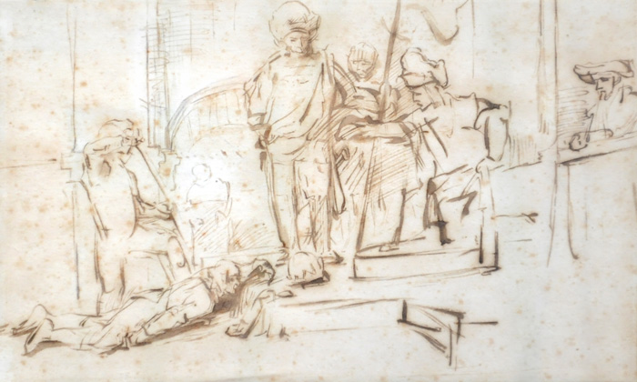 The recovered $250,000 quill pen Rembrandt drawing known as
