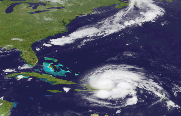 An image released by NOAA shows Hurricane Irene today as it passes over Puerto Rico and the Dominican Republic. The storm is on a track that could see it reach the U.S. Southeast as a major storm by the end of the week.