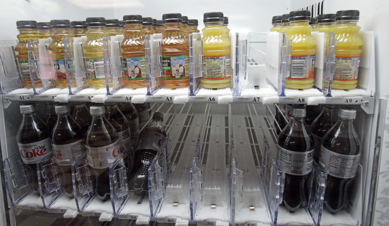 Sugarless soft drinks and fruit juices are stocked in the dispenser at Sumner Hill Junior High School in Clinton, Miss., as the school system tries to combat youth and teen obesity. Portland has begun a public information campaign called