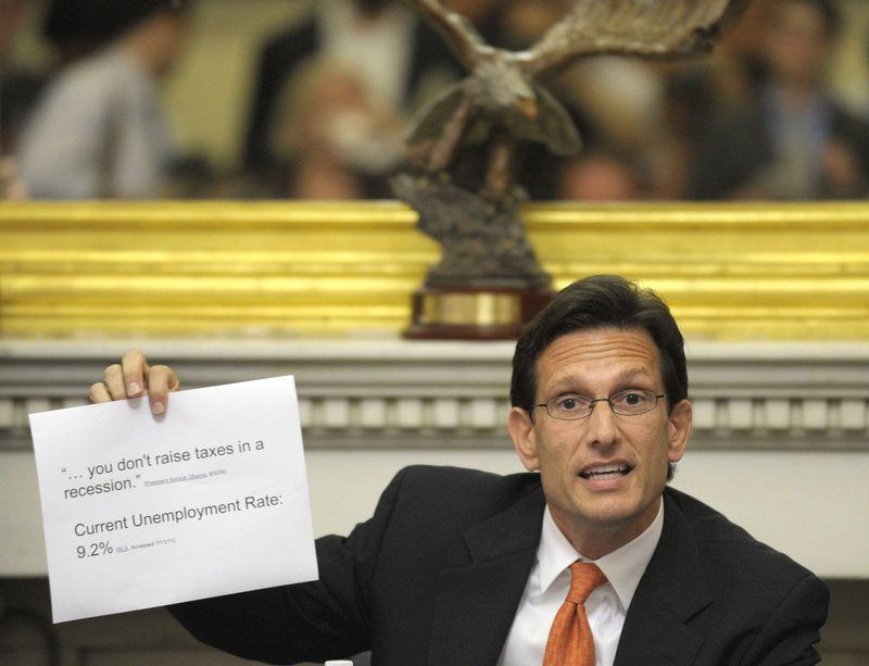 House Majority Leader Eric Cantor, R-Va., speaks to reporters during debt ceiling negotiations in July.