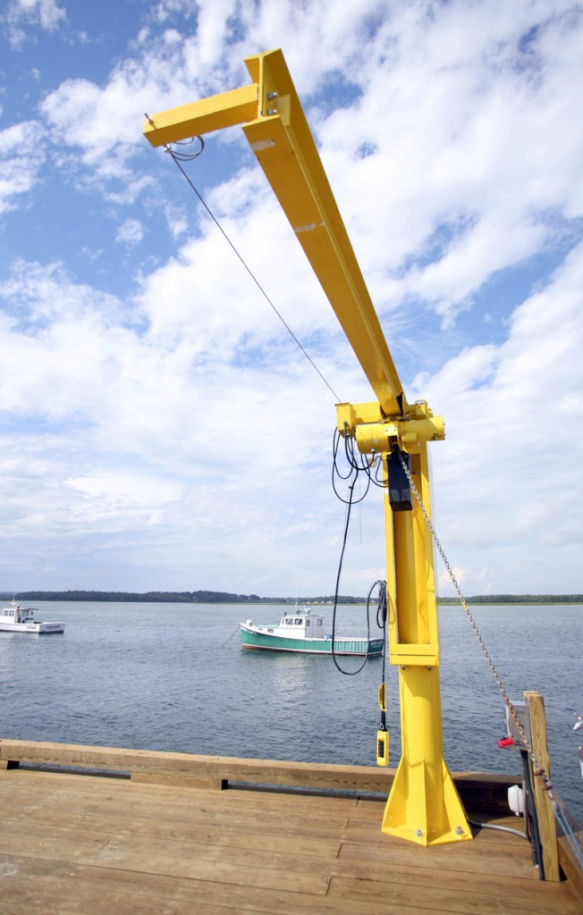 The new municipal pier at Pine Point in Scarborough has two hydraulic hoists that can help load gear and bait directly from trucks to boats, saving time and effort.
