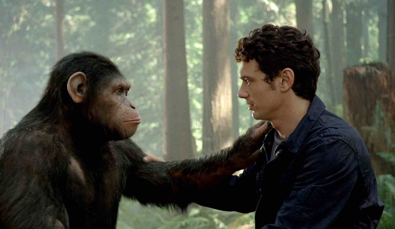Caesar interacts with Dr. Will Rodman (James Franco).