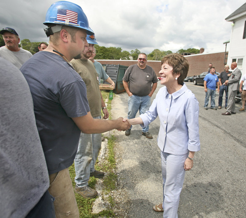 U.S. Sen. Susan Collins meets Wednesday with Bath Iron Works employees. A deal to build two more Zumwalt destroyers at BIW should keep the work force stable for a few years if the funding survives Pentagon budget cuts.