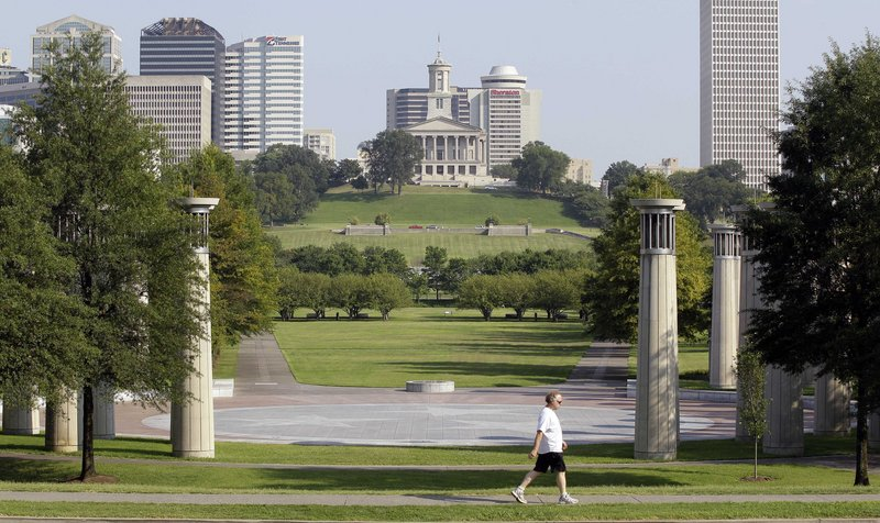 Bicentennial Capitol Mall State Park in Nashville, where the National Folk Festival will be held Sept. 2-4, is in the shadow of Tennessee's State Capitol complex.