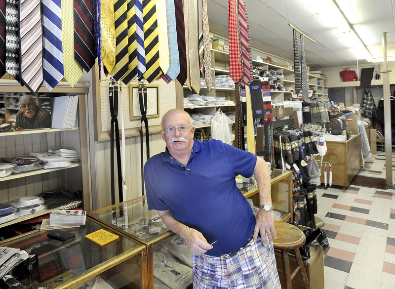 Karl Hooper, owner of Marier's Men Shop in Kennebunk, is retiring and closing his business after 54 years. Some of his customers have