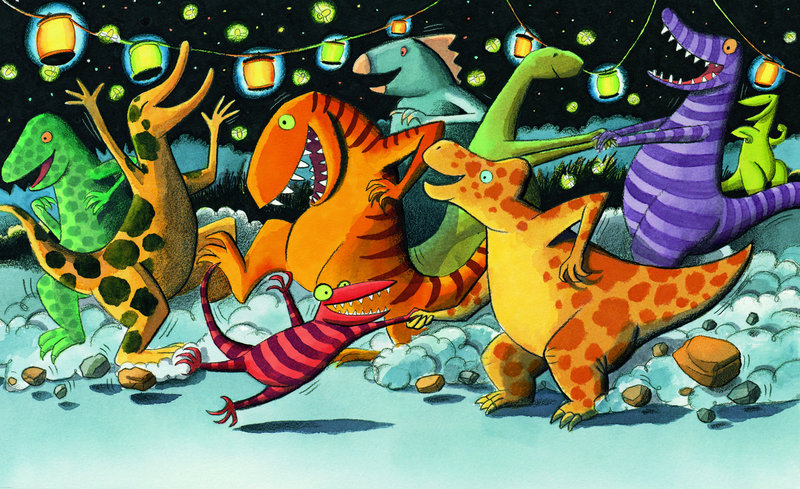 """""""Dinosaur Stomp"""" by Scott Nash of Peaks Island, from """"Saturday Night at the Dinosaur Stomp"""" by Carol Diggory Shields and Nash."""