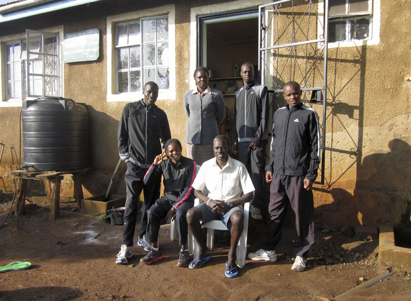 Runners and others at the Kimbia House in Kenya include, left to right: Lawi Rutto, Julliah Tinega, who will be running in this year's Beach to Beacon race for the first time, Mama Kibet, Isaac Arusei, Allan Kiprono and Philemon Cheboi.