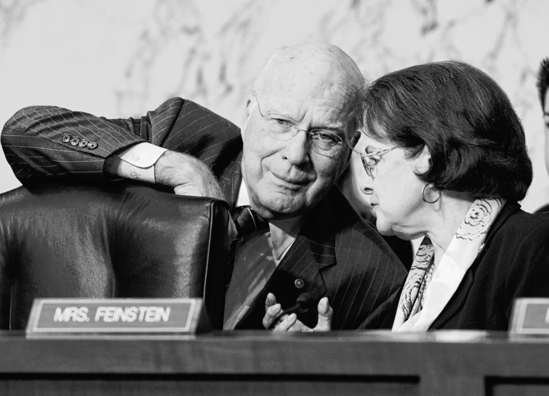 Vermont Sen. Patrick Leahy confers with Sen. Dianne Feinstein, D-Calif., during the DOMA hearing.
