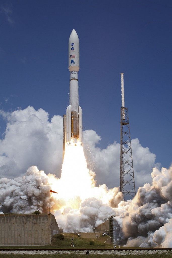 An Atlas rocket blasts off from Cape Canaveral on Friday, carrying the Juno spacecraft to Jupiter.