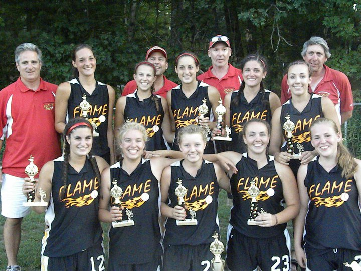 The Southern Maine Flame U-18 fast-pitch softball team won the Barbara Hamilton Memorial tournament, held July 30-31 in Hudson, N.H. The Flame went 6-0 and defeated the Hudson Heat Gold 4-3 in the championship game. Team members, from left to right: Front – Alana Peoples, Amelia Pennington, Sam Schildroth, Heather Fecteau and Julie Dursema. Back – Alan Peoples, Erin Bogdanovich, Jen Field, David Field, Alexis Bogdanovich, Hal Dursema, Connie Grovo, Kayla Daigle and Sam Pennington. Missing from photo – Sarah Gilblair and Katlin Norton.
