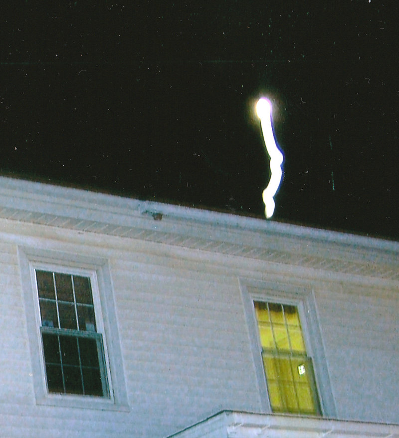 This unexplained bolt of light coming from the roof of the Salt Bay Cafe building in Damariscotta sometimes appeared in photos taken during a Red Cloak Haunted History Tour.