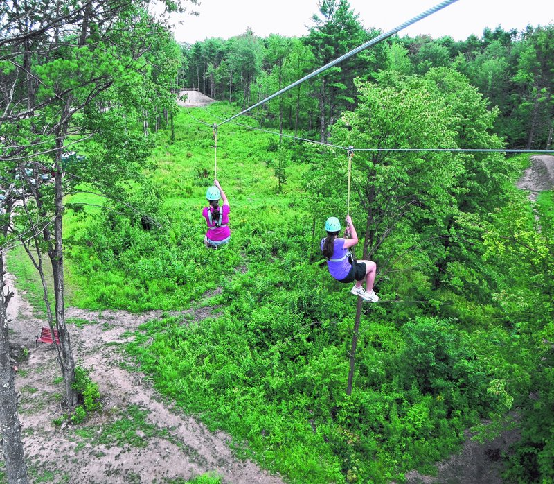 The zipline was a favorite activity at Monkey Trunks for the Almeida girls. The hardest part is taking the first step off the high platform.