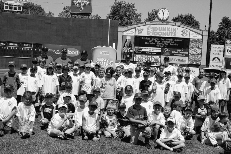 The Portland Sea Dogs and Dunkin' Donuts combined to give 150 athletes age 16 and younger the opportunity to play with members of the Sea Dogs at a kids' clinic.
