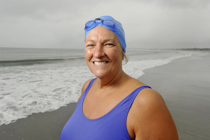 "Sixty-year-old Pat Gallant-Charette has been swimming six days a week at Pine Point Beach to prepare for her third attempt to cross the English Channel. ""She's an inspiration,"" says her daughter, Sarah Midgley."