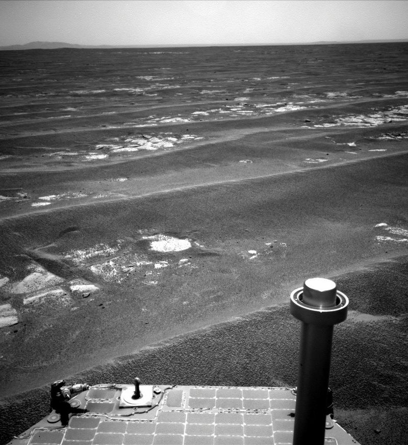 This photo released July 19 by NASA shows its Mars rover Opportunity. A year after the death of the Mars rover Spirit, Opportunity is poised to reach the rim of a vast crater to begin a fresh round of exploration.The Associated Press