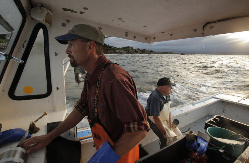 Charlie Gray pilots the boat while his father, Howard, rests on the gunwale as the longtime lobstermen check their traps off the coast of Prouts Neck in Scarborough last week.