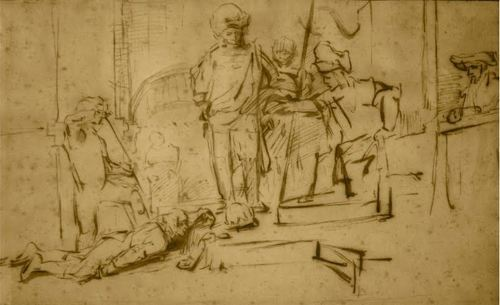 "This Rembrandt drawing, ""The Judgment,"" was stolen Saturday from a private exhibit at the Ritz Carlton in Marina del Rey, Calif. The 11-inch-by-6-inch drawing is valued at $250,000."