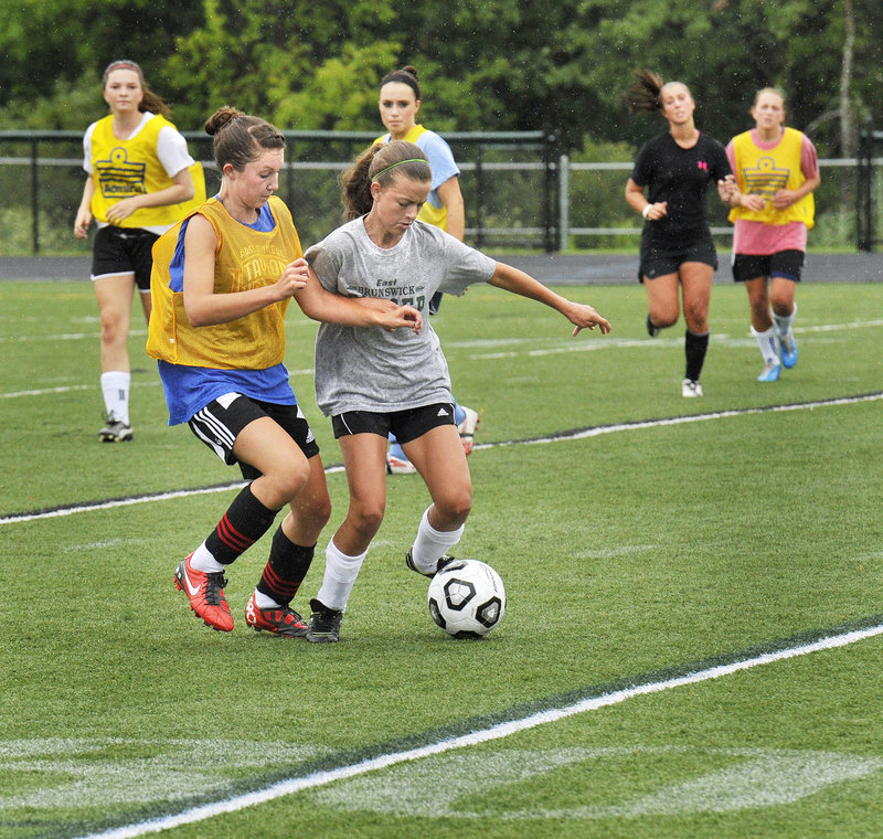 Monday afternoon meant time to scrimmage for the Scarborough girls, giving players a chance to bond – or bump, as the case may be.