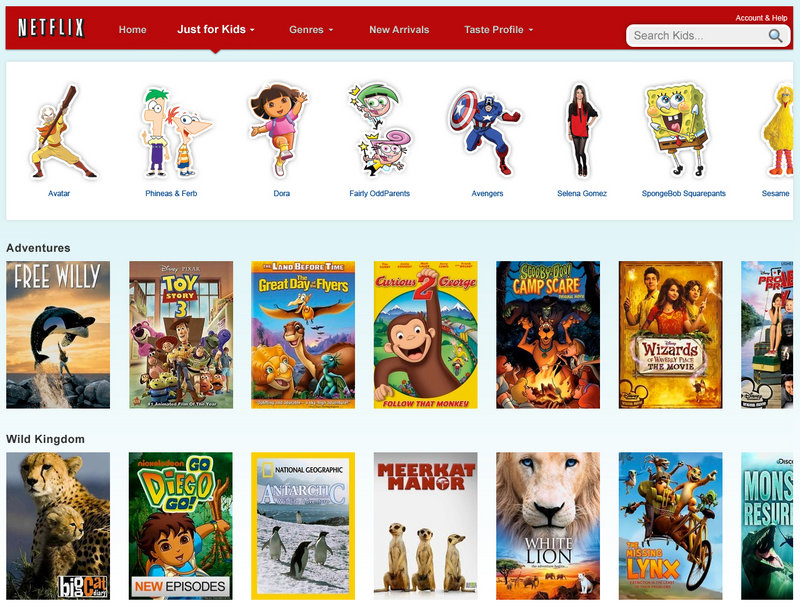 "Clicking on the new ""Just for Kids"" tab will pull up a selection of kid-friendly TV shows and movies."