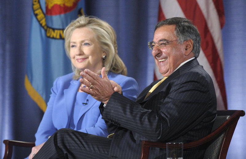 Secretary of State Hillary Rodham Clinton and Defense Secretary Leon Panetta talk with the audience Tuesday at National Defense University.